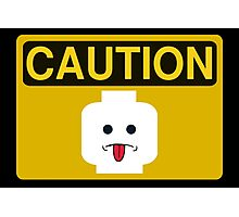 Caution Rude Minifig Head Sign Photographic Print