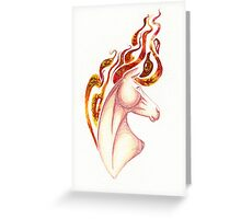 Marbled Fire Horse Portrait Painting Greeting Card