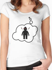 Minifig Ninja, Bubble-Tees.com Women's Fitted Scoop T-Shirt
