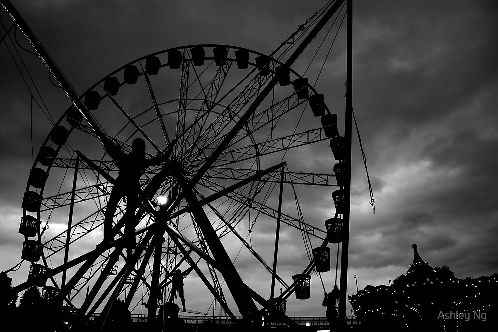Jumping silhouettes at the fair by Ashley Ng