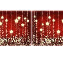 Christmas Stars Joyeux Noel Coffee Mug & Travel Mug by Linda Allan