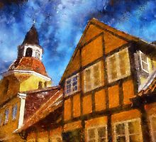 Bell tower in Faaborg Funen Denmark by Ron Zmiri