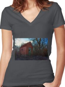 Small rural brick house  Women's Fitted V-Neck T-Shirt