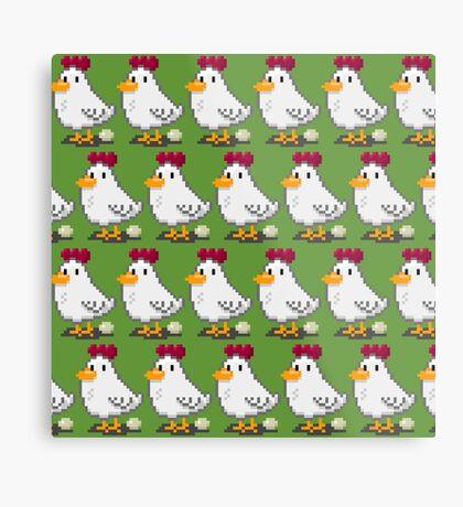 Pixel Chickens Metal Print