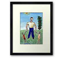 Father & Children Framed Print