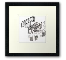 Nikon f3 camera blueprint Framed Print