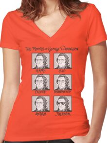 The Moods of George Washington Women's Fitted V-Neck T-Shirt