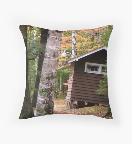 Campground Pump House Throw Pillow
