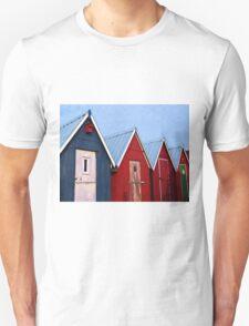 Beautiful red fishing huts on the coast Unisex T-Shirt