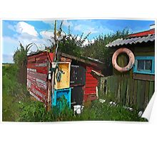 Rustic wooden old fishing shed Poster