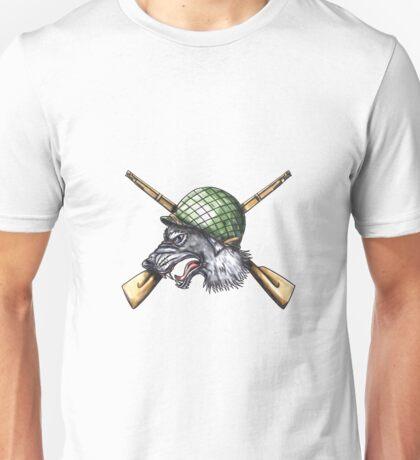 Grey Wolf WW2 Helmet Crossed Rifles Tattoo Unisex T-Shirt