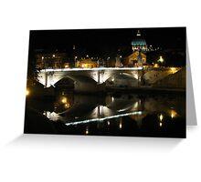Ponte Vittorio Emanuele II by night. Greeting Card
