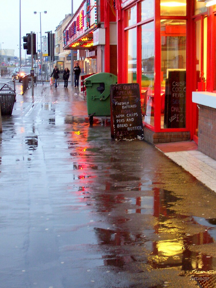 Wet Pavement And Reflections by JImage