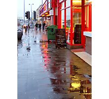 Wet Pavement And Reflections Photographic Print
