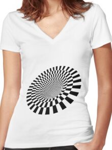 "Trippy Illusion - ""Black hole"" Women's Fitted V-Neck T-Shirt"