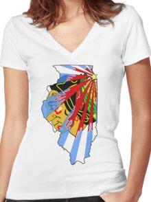 Illinois Blackhawks Women's Fitted V-Neck T-Shirt