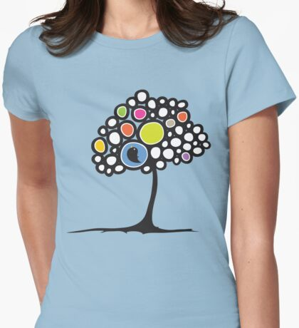 Bird on a tree Womens Fitted T-Shirt