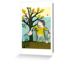 garden boy:watering charlie Greeting Card