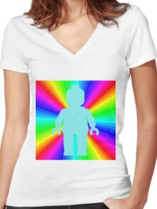 Blue Minifig in front of Rainbow Women's Fitted V-Neck T-Shirt