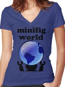 MINIFIG WORLD Women's Fitted V-Neck T-Shirt