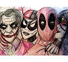 Deadpool Joker Harley & Spiderwoman Photographic Print