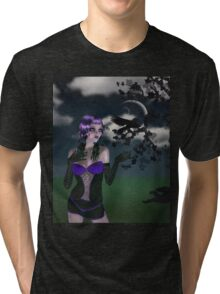 Girl in forest at night 2 Tri-blend T-Shirt