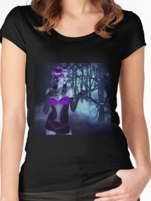 Girl in forest at night 3 Women's Fitted Scoop T-Shirt