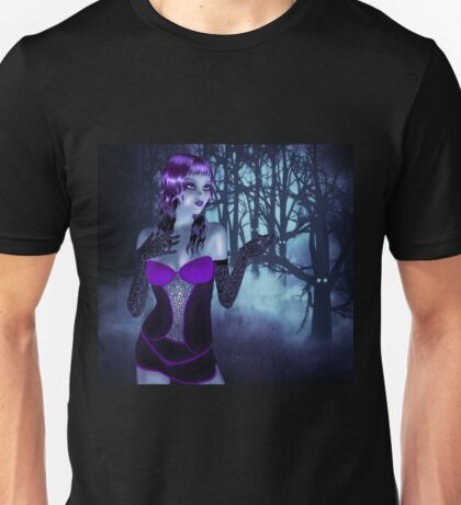 Girl in forest at night 3 Unisex T-Shirt