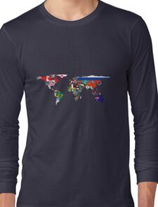Map of Flags Navy Long Sleeve T-Shirt
