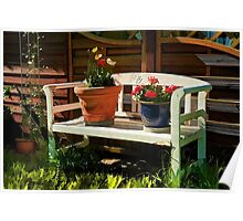 Garden bench with flowers Poster