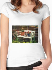 Garden bench with flowers Women's Fitted Scoop T-Shirt