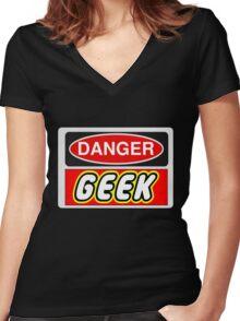 Danger Geek Sign Women's Fitted V-Neck T-Shirt