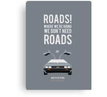 Back To The Future 'Roads' - Grey Canvas Print