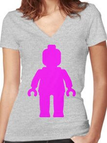 Minifig [Large Dark Pink], Customize My Minifig Women's Fitted V-Neck T-Shirt