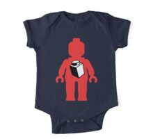 Red Minifig with 1 x 1 Brick Logo, Customize My Minifig One Piece - Short Sleeve