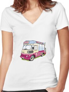 ice cream vanvector illustration of an ice cream truck Women's Fitted V-Neck T-Shirt