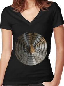 tiger echo Women's Fitted V-Neck T-Shirt