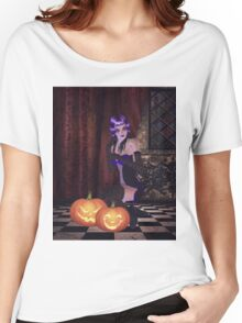 Gothic girl with pumpkins Women's Relaxed Fit T-Shirt
