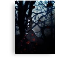 Gothic girl with rose petals 2 Canvas Print