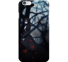 Gothic girl with rose petals 2 iPhone Case/Skin