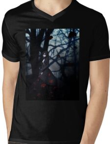 Gothic girl with rose petals 2 Mens V-Neck T-Shirt