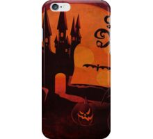 Halloween Castle and pumpkins grunge background iPhone Case/Skin