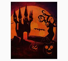Halloween Castle and pumpkins grunge background Unisex T-Shirt