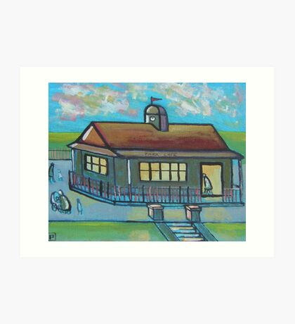Park cafe (from my original acrylic painting) Art Print