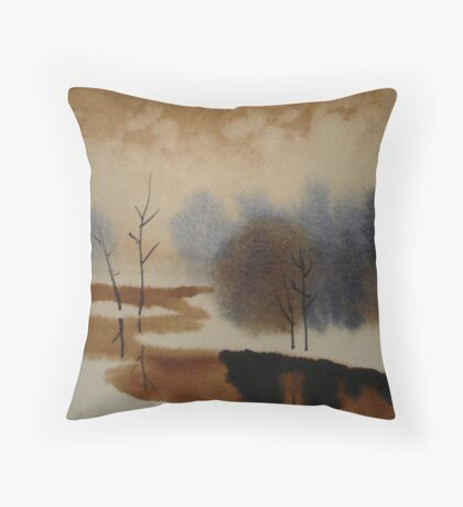 Peaceful Tranquil Contemporary Winter Scene Throw Pillow