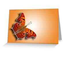 Question Mark Butterfly on Orange Shimmer Greeting Card