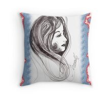 girl in scarf Throw Pillow