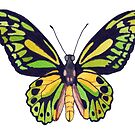 Green & Gold Butterfly  by marlene veronique holdsworth