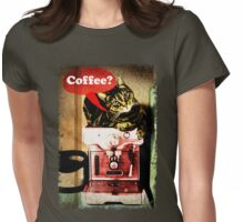 Coffee Cat Ragged Edges Womens Fitted T-Shirt