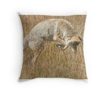 Coyote pounce Throw Pillow